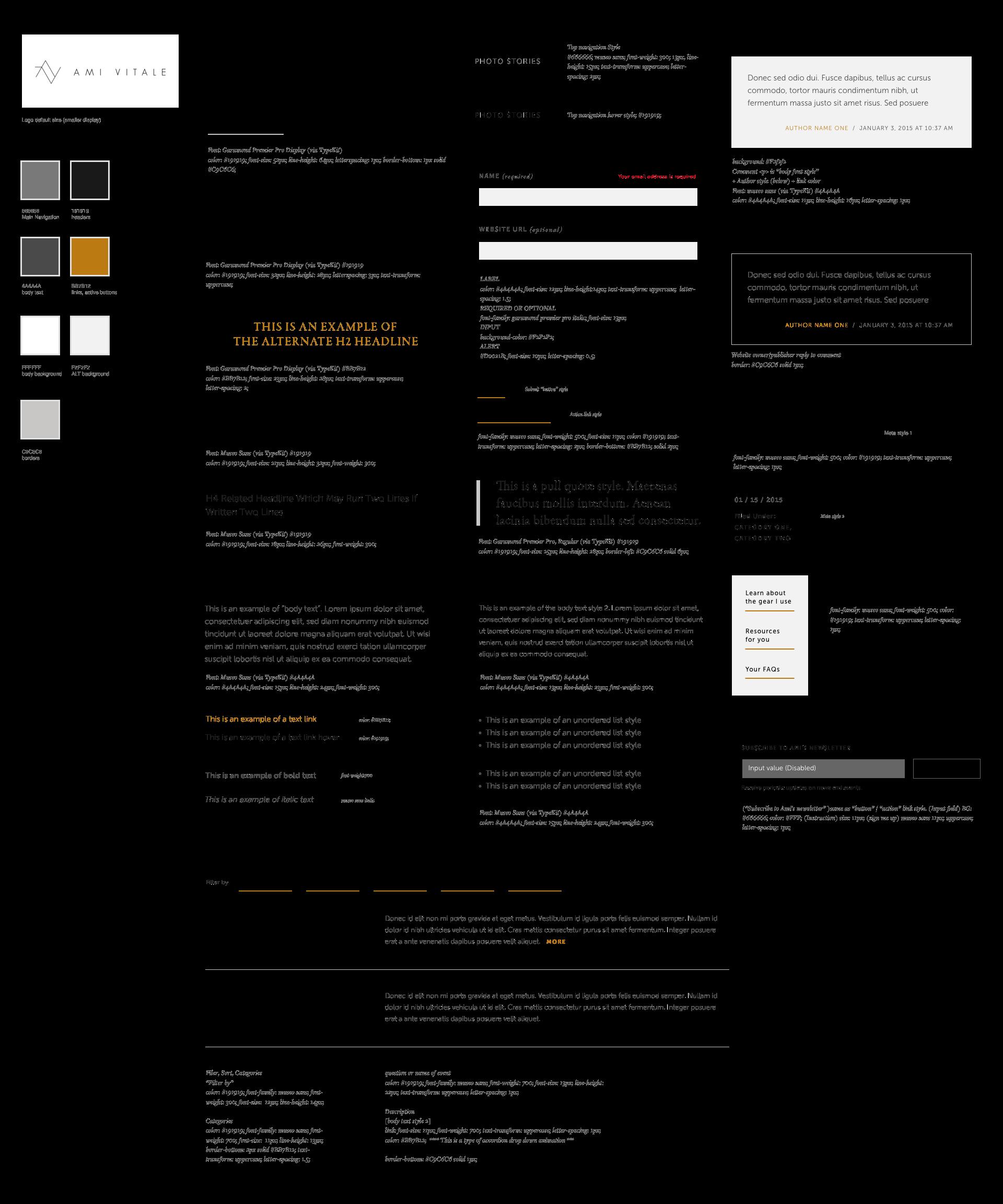 website typographic styles
