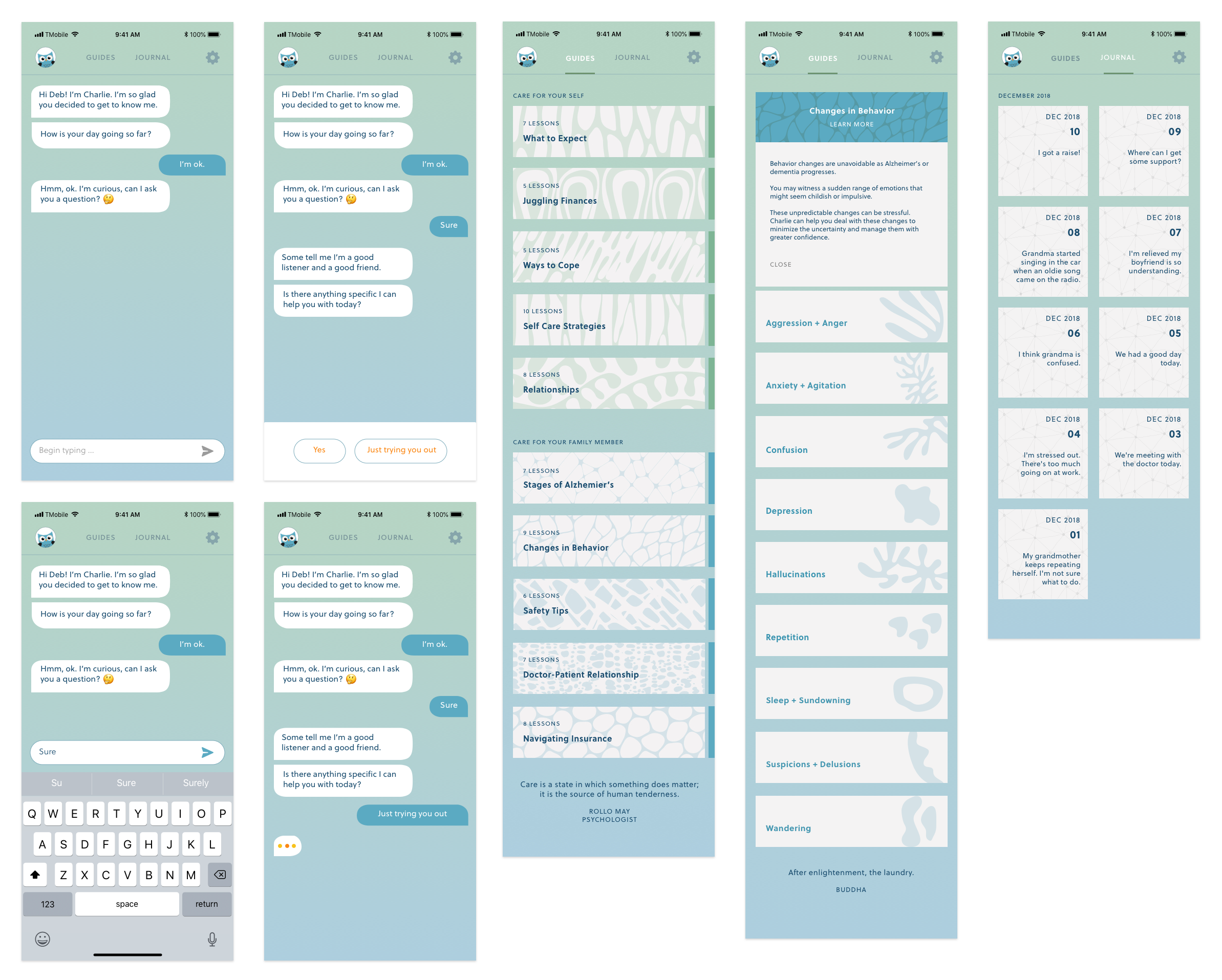 Chatbot concept mockup screens
