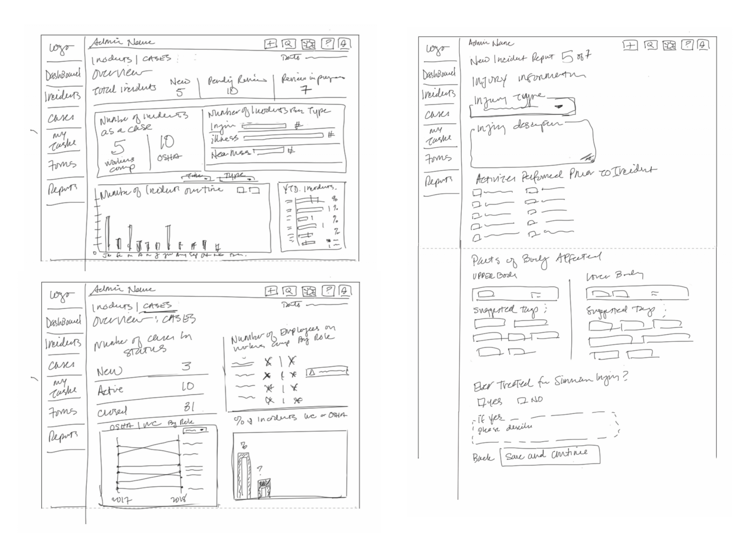 reporting system design sketches