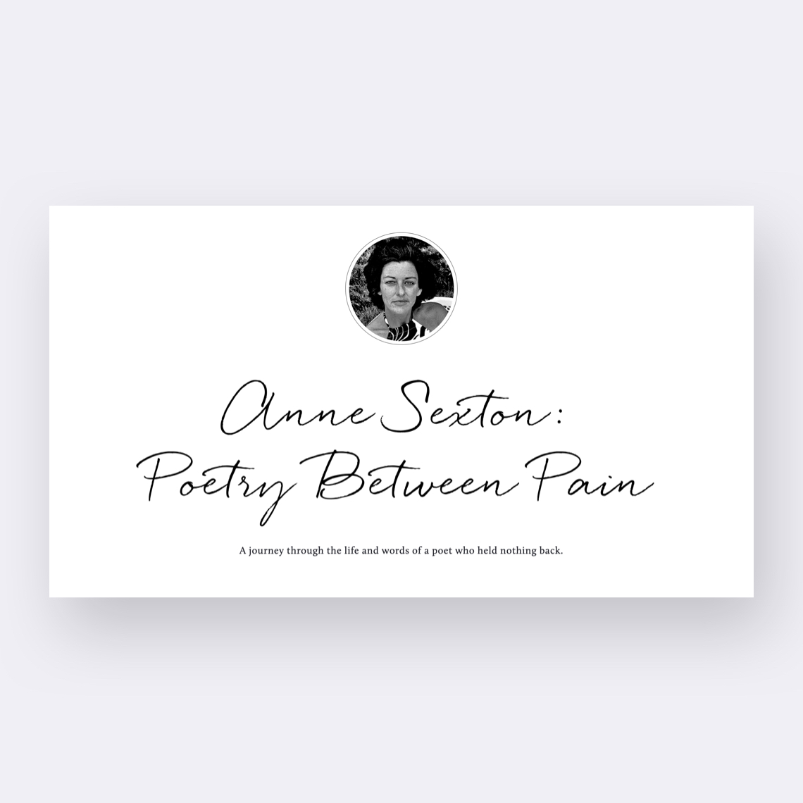 Anne Sexton: Poetry Between Pain